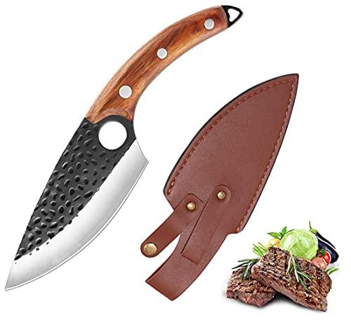 Promithi Couteau de Cuisine Couteau Fait Main Forgé, Couteau de Cuisine Professionnel pour Légumes, Multi-Usages pour Acampar, Randonnée, Air Libre (Classic)