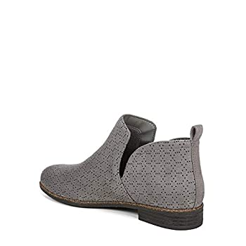 Dr Scholl s Shoes Women s Rate Ankle Boot Dark Shadow Grey Perforated Microfiber Suede 6.5 W US