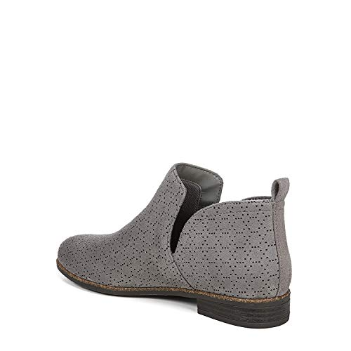 Dr. Scholl's Shoes womens Rate Ankle Boot, Dark Shadow Grey Perforated Microfiber Suede, 7 US