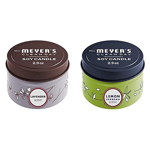Mrs. Meyer's Clean Day Scented Soy Tin Candle Multipack with Essential Oils, Lavender and Lemon Verbena Scent, 2 Count
