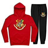 Youth Boys Girls H-a-rry Po-tt-er Ho-g-Warts Logo Hoodie and Pullover Sweatpants Suit 2 Piece Outfit Sweatshirt Set