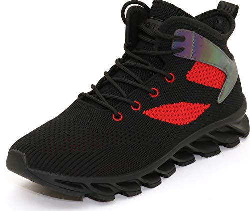 BRONAX Men's Woven High-Top Sneakers Breathable Stylish Shoes Fashion Tennis Running Lace Up Male Size 11 Young Teens Boys Stylish Athletic Mid Casual Comfort Gym Support Workout Black Red 46