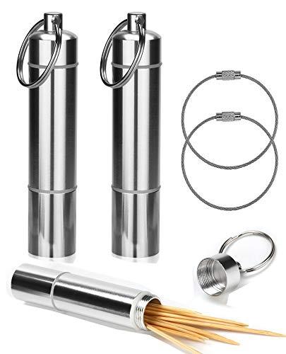 OOTSR Porte Cure-Dents Support Poche Boîte à Pilules Pilulier avec Porte-Clés Alliage D'aluminium Portable Imperméable étanche pour Voyage Camping Extérieur avec Kechain Cable [2 Pack]