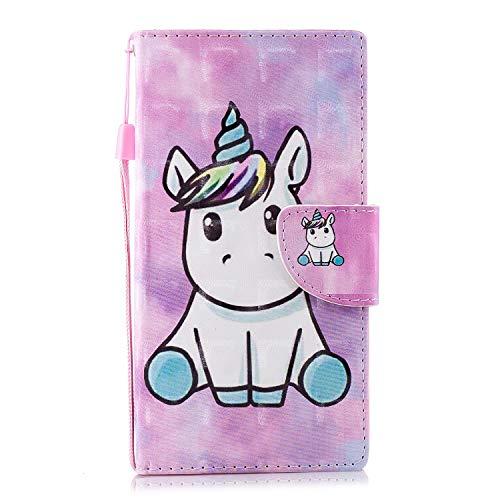 ShinyHülle Flip Brieftasche PU Ledertasche für Sony Xperia L2 Leder Handyhülle Wallet Hülle 3D Bling Glitzer Tasche im Brieftasche-Stil Einhorn Muster Cover Schütz Hülle Abdeckung Ledertasche