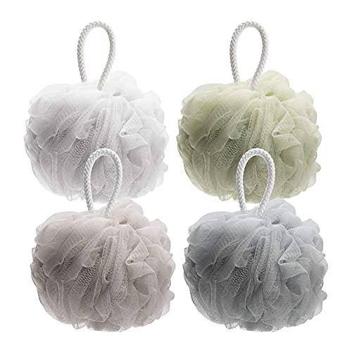 AmazerBath Shower Bath Sponge 75g Shower Loofahs Balls for Body Wash Men Women Bathroom-4 Pack (Neutral Colors)