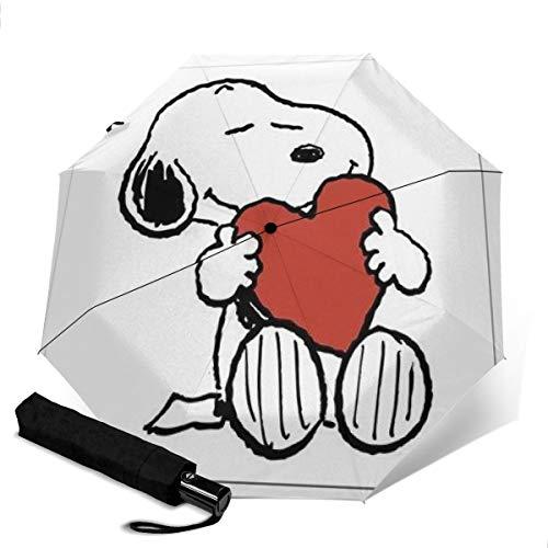 Snoopy Automatischer Dreifach Faltschirm Unisex Bedruckter Regenschirm Manueller Regenschirm Tragbarer Regenschirm