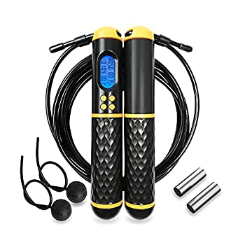 HMALVAM Jump Ropes with Counter,Weighted Ropeless Jumping Ropes with Adjustable Length Speed Skipping Rope for Indoor and Outdoor exercise for Men Women Adults,Kids