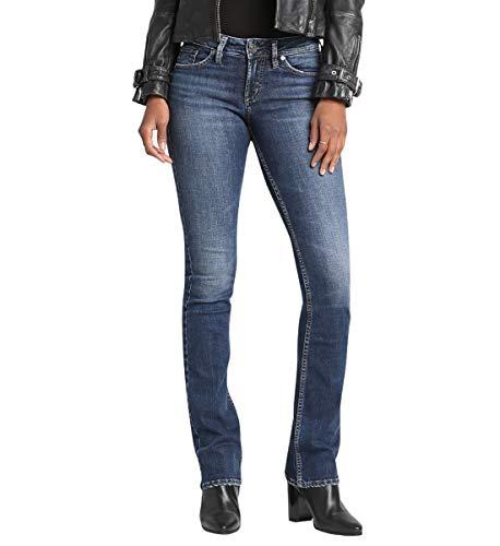 Silver Jeans Co. Women's Suki Mid Rise Slim Bootcut Jeans, Vintage Dark Wash, 30W X 31L