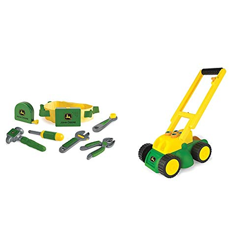 TOMY John Deere Deluxe Talking Toolbelt Preschool Toy & John Deere Electronic Lawn Mower, Toy for Kids