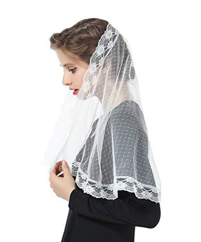 Mantilla De Encaje Española Mujer Capilla Velo Pañuelo de Iglesia Católica Bordado Chal Bufanda Negra Blanca V106