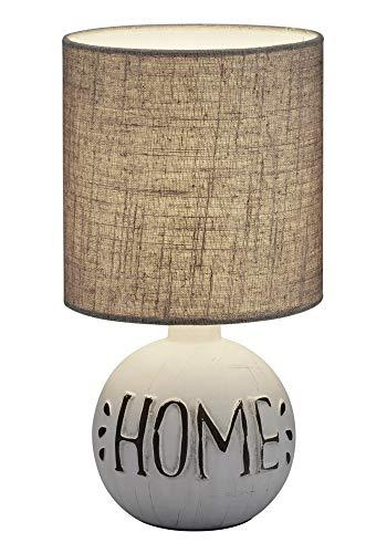Reality Leuchten Esna R50651025 Tischleuchte, Keramik, Stoffschirm Grau