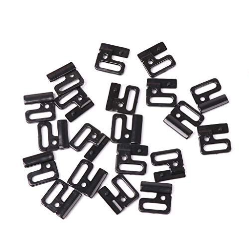 niumanery 10 x Craft Plastic Rectangle Tap Hooks & Clasp Sewing On Swimsuit Bra BIKINI Black 20mm