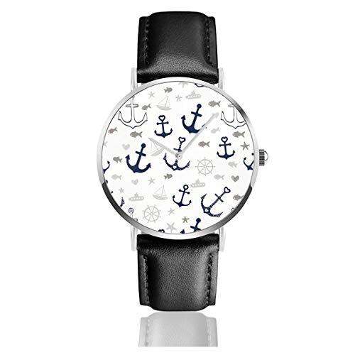 Weiße Armbanduhr mit mehreren Ankern, Lederband, leger, klassisch, Edelstahl, Quarz, Business-Armbanduhr