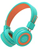 iClever BTH02 Kids Headphones, Kids Wireless Headphones with MIC, 22H Playtime, V5.0 & Stereo Sound, Foldable, Adjustable Headband, Childrens Headphones for iPad Tablet Home School, Green/Orange