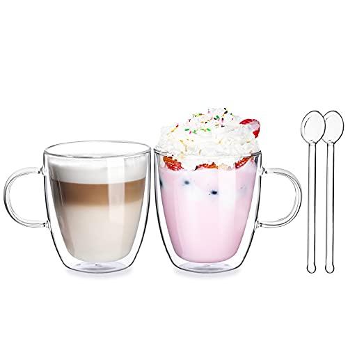 Vasos de Café de Doble Pared Juego de 2-400ml Tazas de Vidrio Borosilicato - Vasos de Café con Mango para Té, Latte, Leche, Cappuccino, Jugo - 2 Cuchara de Vidrio Gratis