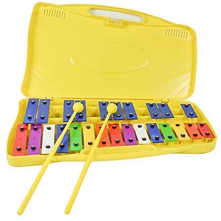 ENNBOM 25 Notes Vibraphone Xylophone Glockenspiel Black Blue Percussion Instrument with Case Yellow Case Blue
