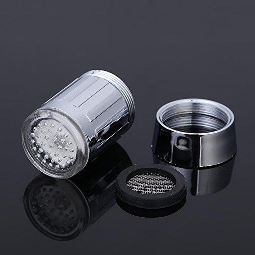SHABEI LED Wasserhahn Temperatur,Glow Wasser Stream Mini Wasser Powered Temperatur Sensor 3 Farben ändern LED Wasserhahn Licht - 6