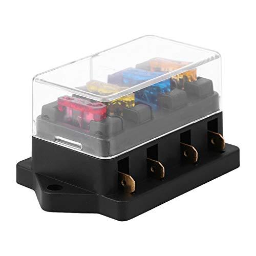 Duokon 12-24V Coche Circuito de 4 vías Cuchilla estándar Fuse Box Holder con 5A + 10A + 15A + 20A fusible