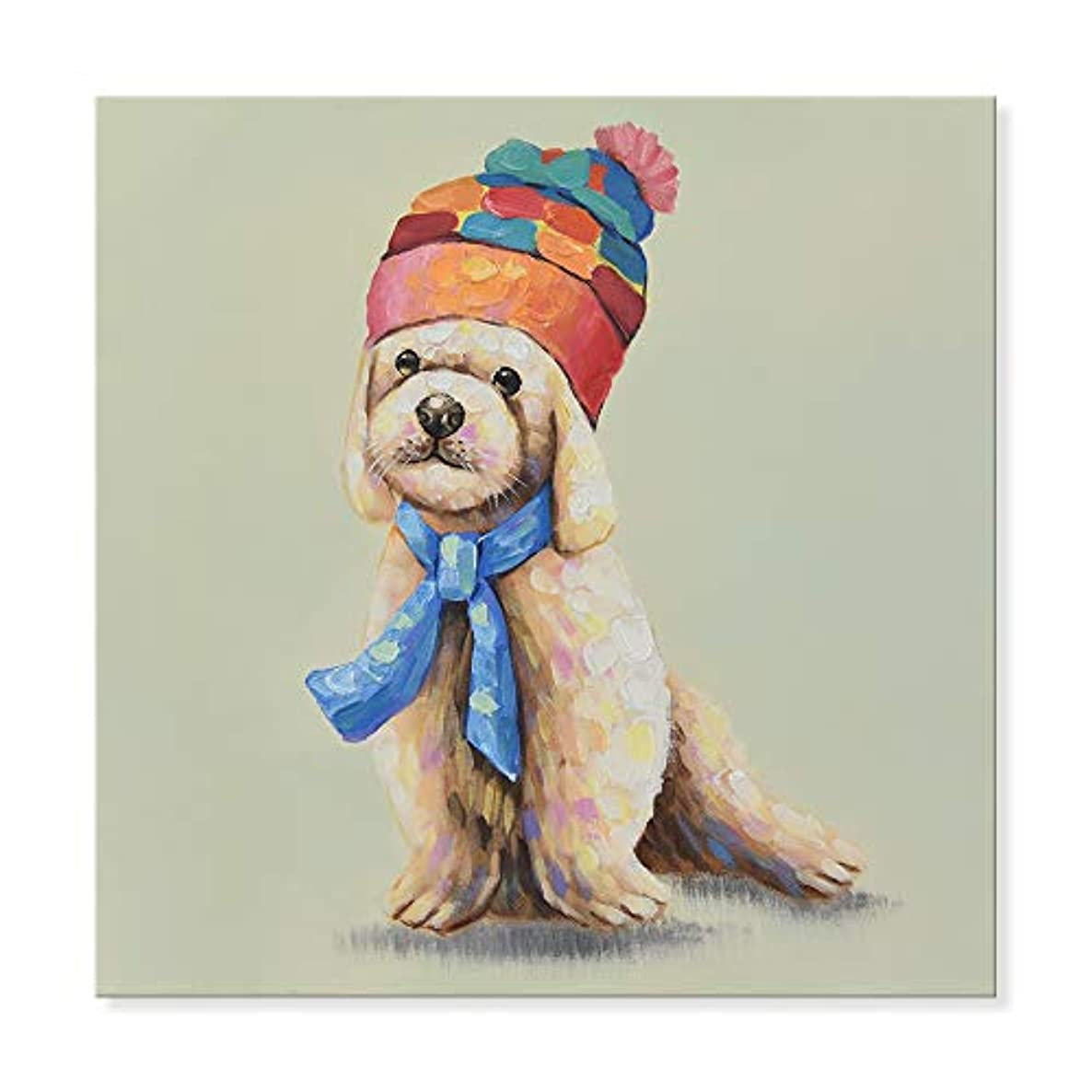 SEVEN WALL ARTS - 100% Hand Painted Oil Painting Animal Cute Poodle Wears a Colorful Hat with Stretched Frame 24 x 24 Inch