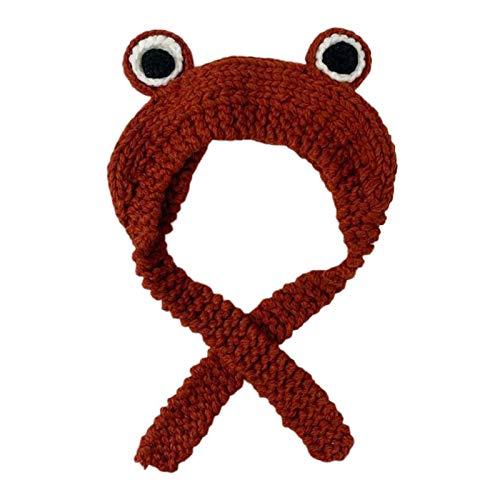 #N/a Lindo gorro de punto tejido de ojo de rana de Color sólido de invierno cálido gorro de orejeras, con cinco colores para seleccionar - Rojo vino