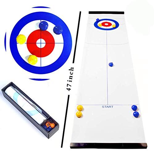 Tabletop Curling Game Fun Family Games for Kids and Adults Party Favor Compact Curling Mini Board Game Shuffleboard Pucks for Family/School/Travel as Gifts