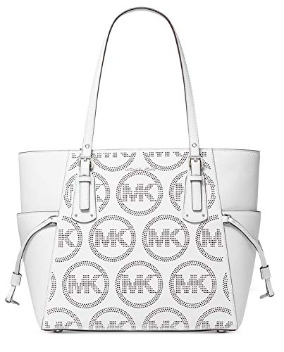 """Michael Kors Voyager East West Leather Tote Bag Optic White 14""""W x 11""""H x 6D"""