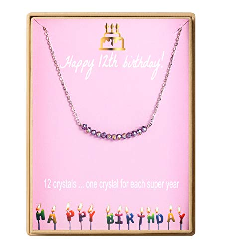 Birthday Gifts for Girls Sterling Silver Gem Stone Bar Necklace Birthday Gifts for Daughter 12 Year Old Girl