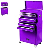 8-Drawer Rolling Tool Box, Rolling Tool Chest with Drawers and Wheels, Tool Storage Cabinet with 4 Swivel Wheels (2Pcs with Brake), Keyed Locking System Tool Organizer (Purple)