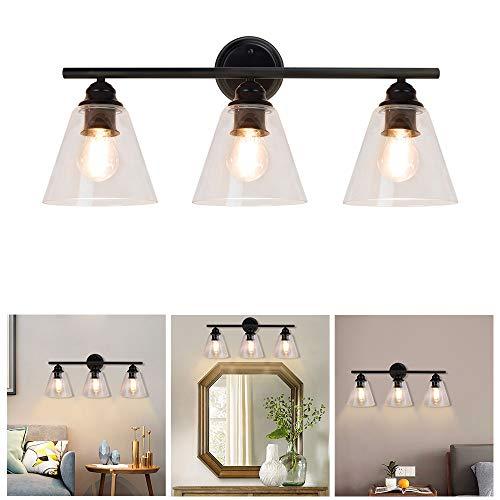 Depuley Lámpara de pared vintage de color negro con 3 focos de metal y cristal, casquillo E27, lámpara de pared retro para dormitorio, salón, mesa de comedor (sin bombilla)