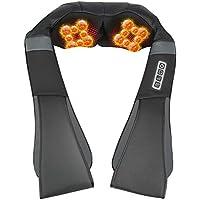 ESSEASON Masajeador de Espalda Shiatsu - 16 Nodos Masajeador Cervical con 3D Amasamiento Profundo Rotación y Función de Calor, Relajación para Cuello y Hombros - Casa Oficina Coche (A-Negro)
