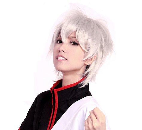 Prettyland Perruque Courte 30cm Argenté Blanc Blonde Gris Sauvage Lisse Gothique Travesti Manga Cosplay C323