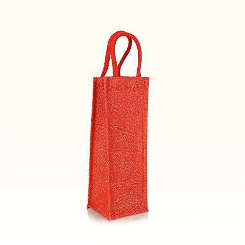 Jute statt Plastik Original | BB1415SRG | Flaschentasche rot/Gold | Jutetasche Bottle Bag | Fair & Nachhaltig | Getränke Geschenke Wein Sekt