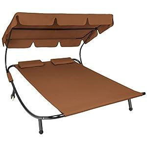 TecTake 800089 Tumbona Doble de Jardín, Parasol Plegable, 2 Cojines, Estructura de Metal, Interior & Exterior (Marrón   No. 401222)