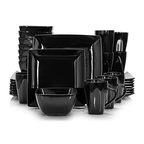 Vancasso Tafelservice Porzellan, 32 teilig SOHO Geschirrset mit je 8 Speiseteller, Dessertteller, Müslischalen und Kaffeebecher für 8 Personen, Kombiservice Set,eckiges Geschirr