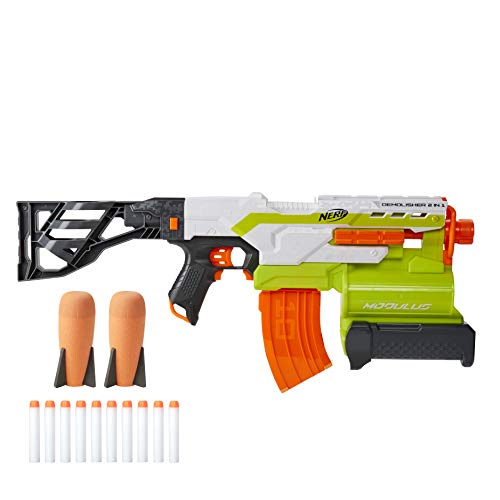 NERF Modulus Demolisher 2-in-1 Motorized Blaster, Fires Darts and Rockets, Includes 10 Elite Darts, Banana Clip, 2 Rockets, Stock (Amazon Exclusive)