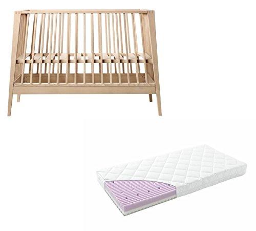 Linea by Leander Lit bébé en hêtre avec matelas confort 60 x 120 cm