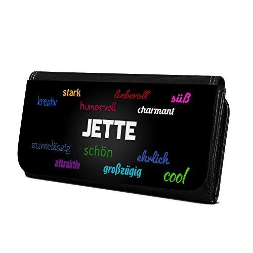 Geldbörse mit Namen Jette - Design Positive Eigenschaften - Brieftasche, Geldbeutel, Portemonnaie, personalisiert für Damen und Herren