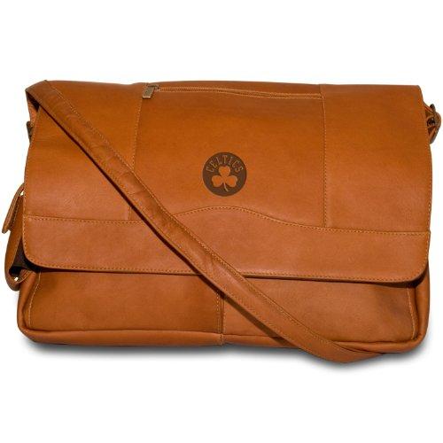 NBA Boston Celtics Tan Leather Laptop Messenger Bag