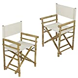 Zew Folding Director Chair Bamboo Portable Camping Outdoor Set of 2, 22.8'' L x 18.1'' W x 35.4'' H, White