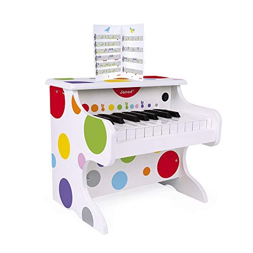 Janod - Mon Premier Piano électronique Confetti - Instrument de Musique Enfant en Bois - Jouet d'Éveil Musical - Dès 3 Ans, J07618, Multicolore
