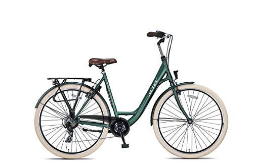 Altec 28 Zoll Damen Mädchen City Trekking Fahrrad Rad Bike Damenrad Cityfahrrad Damenfahrrad Cityrad Trekkingfahrrad Trekkingrad 7 Shimano Gang Beleuchtung Metro 55 cm Army GRÜN