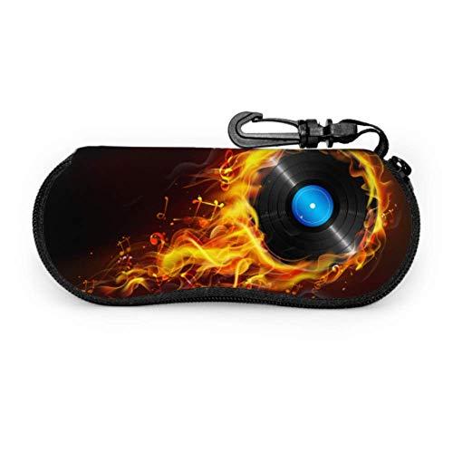 Estuche para gafas Ilustración Disco Fire Flame Sizzling Music Funda de gafas de sol de neopreno con cremallera suave Bolsa protectora para gafas