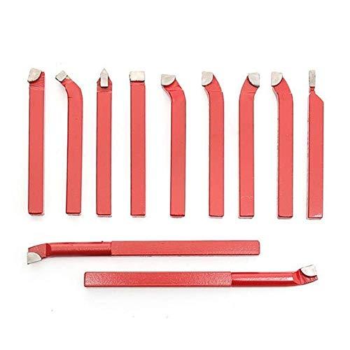 GUOCAO Herramientas de punta de carburo 11 piezas juego de herramientas de torneado para torno, herramienta de corte de metal, insertos de fresado, mandril de taladro