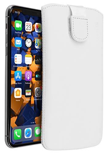 mumbi Echt Ledertasche kompatibel mit iPhone 11 Pro Max Hülle Leder Tasche Case Wallet, weiss, mumbi_29485