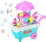 FANPING 27pcs helado y caramelo del juguete de la carretilla, Play Food Supermercado CARRO de juguetes con la rotación de la música de iluminación Juego de imaginación Set mejor regalo for niños y niñ