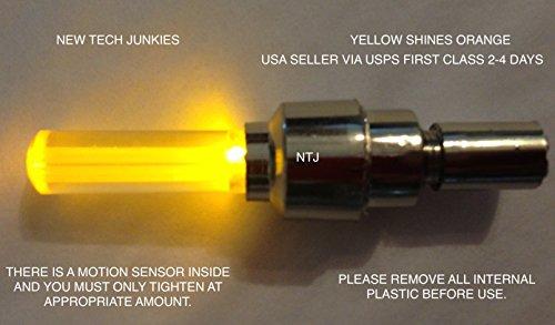 New Tech Junkies NTJ USA 1 Pair LED Motion Activated Bike Bicycle Wheel Valve Stem Cap Tire Light (Orange)