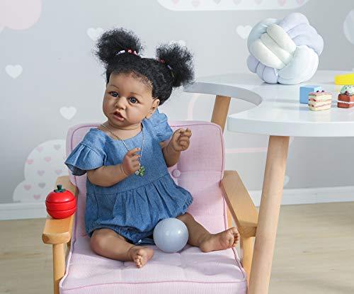 Angelbaby African American Reborn Baby Dolls Girl Silicone Full Body Realistic, 22 inch Weighted Reborn Newborn Saskia Baby Black Dolls (Denim Dress)
