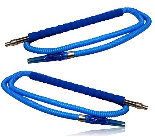 Bayli [2er Set] - 1,8m Shisha Schlauch [Farbe - Blau] für Hookah   2 x Ersatzschlauch für Wasserpfeife   Schlauch mit [gepolstertem] Mundstück