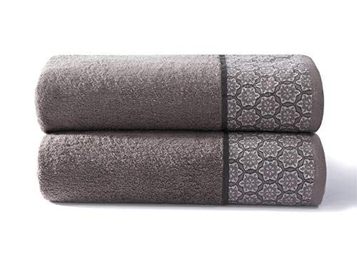Cloe' Louis Pack of 2 Hotel Quality 550 GSM Pure Combed Cotton Bath Towels 70 x 130 CM With Jacquard Border Soft Machine Washable (Grey)