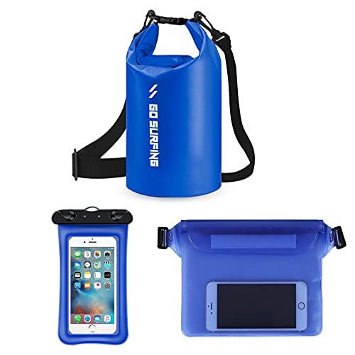 YCYUYK 3 piezas impermeable bolsa seca 20l Roll Top Dry Storage Bag Mochila con funda para teléfono para natación, canotaje kayak (azul)